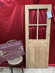 RECLAIMED Victorian ANTIQUE STRIPPED PINE DOOR Part Glass Vestibule Porch (2of3)
