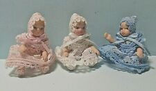 Dolls house Set of 3  Tiny Baby  Porcelain Dolls~jointed ~1:12~nursery Accessory