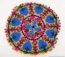 Indien Suzani Embroidered Home Decorative Cushion Cover Round Beige Pillow Case