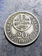 1929 SAO TOME & PRINCIPE 20 CENTAVOS  Rare Coin