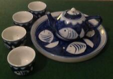 Minature tea pot cups and tray. Tea ceremony Blue and White China. Fish / fishes