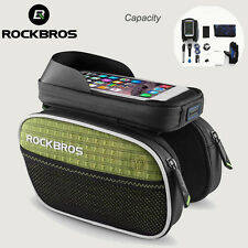 ROCKBROS Top Tube Bike Bag Rainproof Touch Screen MTB Cycling Bicycle Green Bag