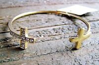 Rhinestone Bracelet Cross Gold Bangle Cuff Cowgirl Fashion Statement Jewelry
