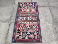 Old Traditional Hand Made Persian Oriental Patchwork Wool Pink Rug 132x68cm