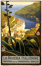 VINTAGE ITALIAN RIVIERA ITALY TRAVEL A2 POSTER PRINT