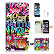 ( For iPhone 6 / 6S ) Wallet Case Cover! Graffiti P1482