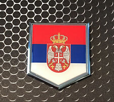 "Serbia Flag Domed CHROME Emblem Proud SRBIJA Flag Car 3D Sticker 2""x 2.25"""