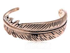Fashion Womens Golden Tone Boho Antique Bird Feather Open Cuff Bracelet Bangle