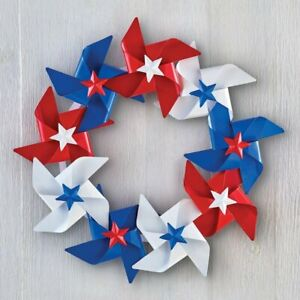 4th of July Patriotic Americana Pinwheel Style Spinner Home Door Wreath