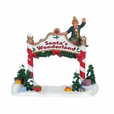 Lemax Santa's Wonderland Entry Sign w/ Waving Elf Figure *New*
