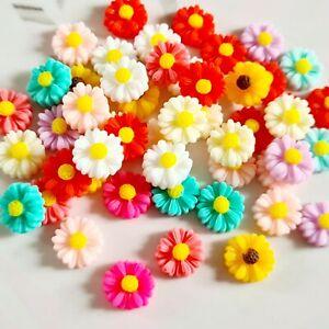 Pack of 50 Pastel Daisy Flower Flatbacks, Resins for Bow Making, Embellishments