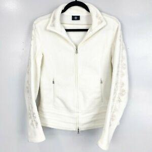 Bogner Cream Full Zip Embroidered Collared Fleece Jacket Size M
