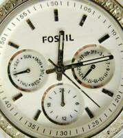 Woman Fossil Watch Clear Silver T White MOP RStone WR 50m Glo Day Date New Batt