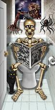 Auf Klo sitztendes Skelett Türposter Poster Tür Posterfolie Deko Halloween Folie