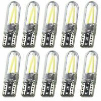 10Pcs White T10 194 168 W5W COB LED CANBUS Silica Bright License Light Bulbs NEW