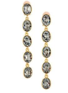 Oscar de la Renta Gray /champagne oval crystal Draping pendant earrings 4in''