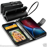 GENUINE REAL LEATHER WALLET CASE COVER FOR MOTOROLA MOTO G4