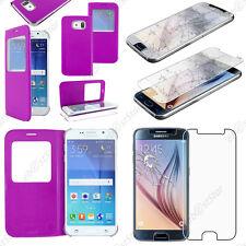 Housse Coque Etui Fenêtre View PU Cuir Violet Samsung Galaxy S6 G920F + Verre