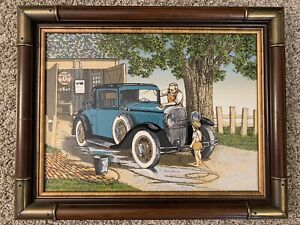 Vintage H. Hargrove 1986 Old Car Flying A Serigraph Framed 19x15 w/ Appraisal