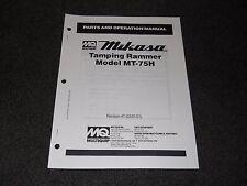 Multiquip Mikasa MT-75H Tamping Rammer parts operation manual