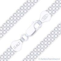 .925 Italy Sterling Silver 6mm 2-Row Bizmark Bismark Link Italian Chain Bracelet