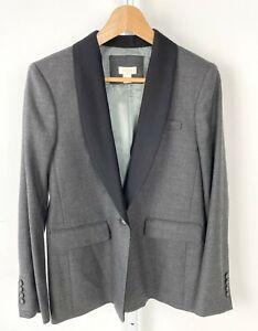 J.CREW Factory One Button Tuxedo Blazer Jacket Wool Blend Career B3191 Gray 2