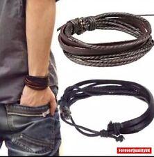 Mens Boys Handmade Leather Braided Surfer Wristband Bracelet Bangle Wrap