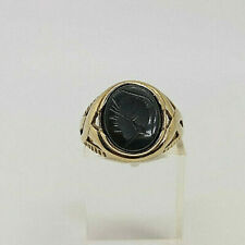 9ct Gold Hallmarked Hematite Carved Head Signet Ring.  Goldmine Jewellers.
