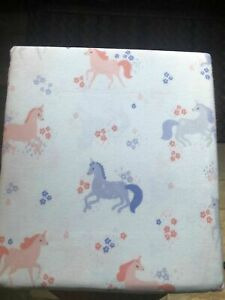 Cuddl Duds Heavyweight Flannel White w/Pink & Purple Unicorns Queen Sheet Set