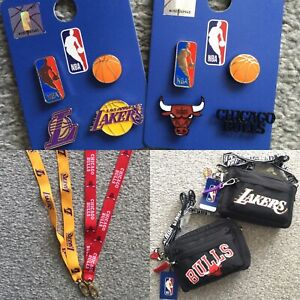 BNWT Official NBA Basketball LA Lakers Chicago Bulls Lanyard Pin Badges Bag