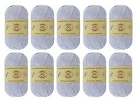 "10-pack Set ""White Gray"" Worsted Bamboo Cotton Yarn Skein - Premium Quality"