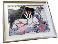 """Original Andrzej Folfas Gouache (geb. 1948, Witów) """"Komposition"""" signiert, 1991"""