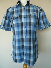 "Men's Next Blue Checked Cotton Short Sleeve Summer Shirt Size S Chest 36""  VGC"
