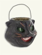 victorian trading co black cat hissy fit paper mache halloween candy bucket nib - Halloween Cat Decorations