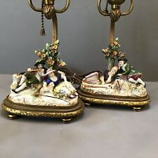 Pair Antique Ludwigsburg ? German Footed Brass Lamps Dresden Figurines Man Woman