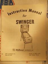 Pinball Swinger Original Manual Williams Flipper PACKAGE lot inc schematics RARE