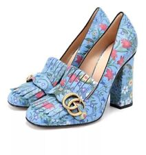8fa2780ae GUCCI Marmont Blue Rose Floral Fringe Block High Heel Size 37, US 7 $950
