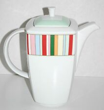 Lubiana larger size stripe detail Polish porcelain square tea coffee pot Retro