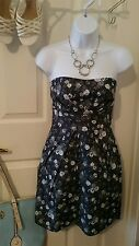 New Gray White Floral Sheath Pleated Dress w/ Pockets Sz Large Cotton Blend