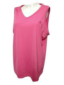 Adidas Women X-L ARGE Sleeveless Athletic Tank Top Solid Pink Vneck(#m5