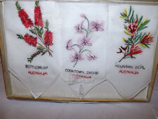 Lovely Vtg Swiss Made Linen Embroidered Floral Australia Souvenir Women Hankies