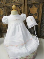 NWT Will'beth White Rose Vintage Lace Dress 3pc Set Newborn Baby Girl Occasion