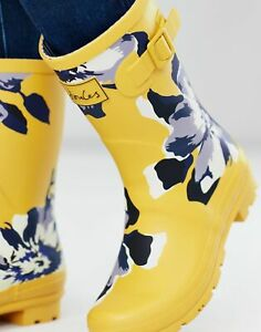 Joules Womens Molly Mid Height Printed Wellies - Gold Floral - Adult 8