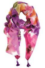 Zelly Scarves Purple Floral Tassel Modern Flower Pattern Scarf Tassels Colourful