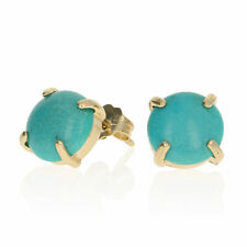 Round Cabochon Cut Turquoise Earrings - 14k Yellow Gold Pierced Studs