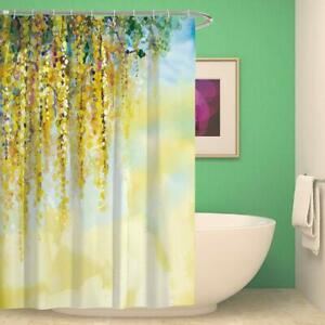 Yellow Weeping Floral Watercolor Farmhouse Boho Fabric Shower Curtain + Hooks