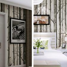 Forest Nonwoven Wallpaper Birch Tree Rustic Modern Black White Roll Wall Sticker