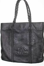 Authentic CHANEL CC Chain Shoulder Tote Bag Black Caviar Silver Chain~Gorgeous~