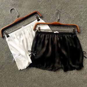 Womens Lace Silk Feel Satin Shorts Panties Underwear Boxer Briefs Knickers