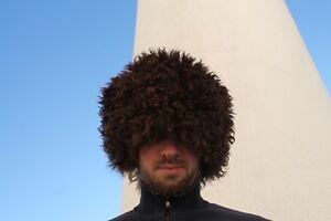 papakha papaha KHABIB sheepskin fur hat Russia Caucasus dark brown winter hat